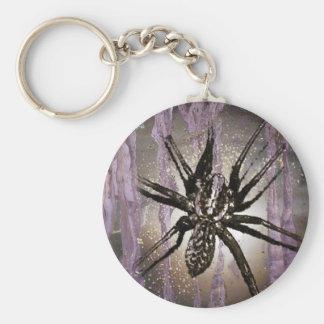 Araña en púrpura llavero redondo tipo pin