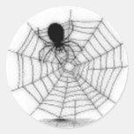 Araña en su Web - pegatina de Halloween