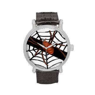 Araña espeluznante en reloj de la tela