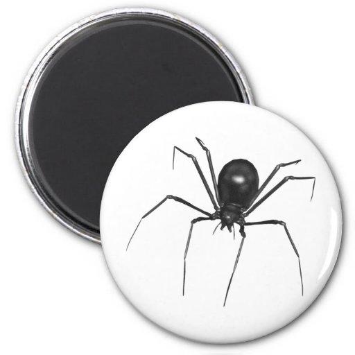 Araña espeluznante negra grande 3D Imán Redondo 5 Cm