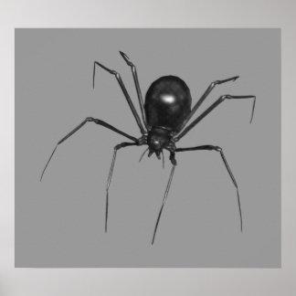 Araña espeluznante negra grande 3D Poster