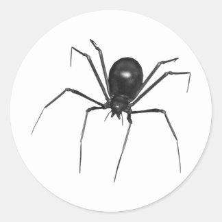 Araña espeluznante negra grande 3D Pegatina Redonda