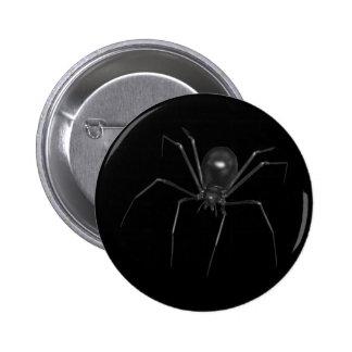 Araña espeluznante negra grande 3D Pin Redondo De 2 Pulgadas