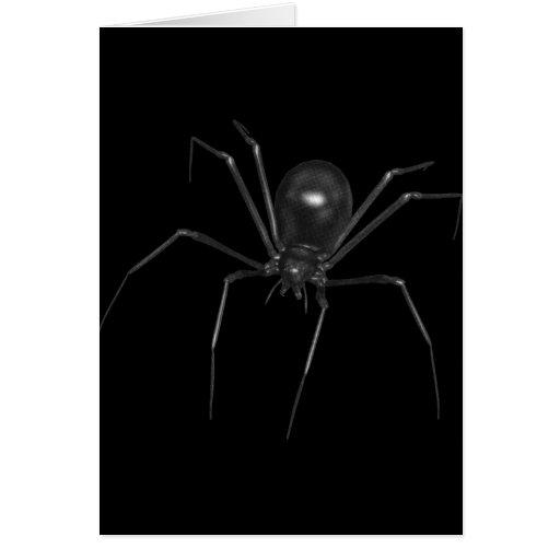Araña espeluznante negra grande 3D Tarjetas