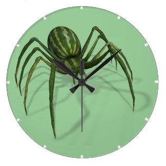 Araña extraña divertida de la sandía reloj redondo grande