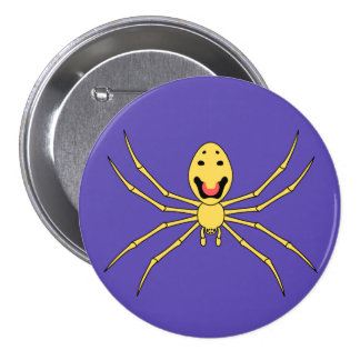 Araña feliz de la cara del grallator de Theridion  Pin Redondo De 3 Pulgadas