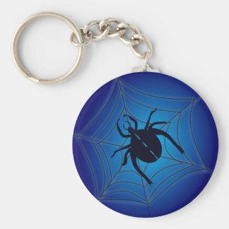 Araña grande en el llavero azul de Halloween del W