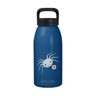 Araña linda del albino botella de agua