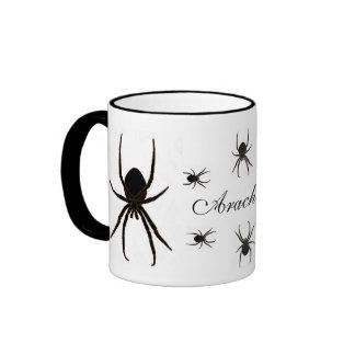 Araña negra, arácnidos taza de dos colores