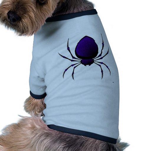 Araña negra camisas de mascota