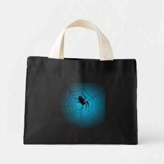 Araña negra de Halloween en el Web Bolsa Tela Pequeña