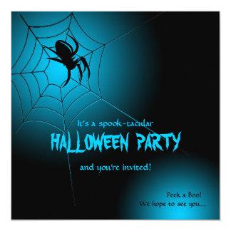 """Araña negra de Halloween en el Web Invitación 5.25"""" X 5.25"""""""