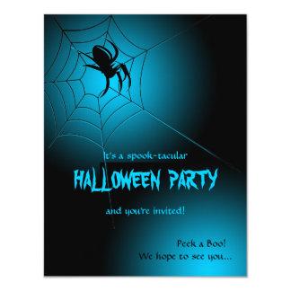 """Araña negra de Halloween en el Web Invitación 4.25"""" X 5.5"""""""