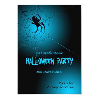 """Araña negra de Halloween en el Web Invitación 5"""" X 7"""""""