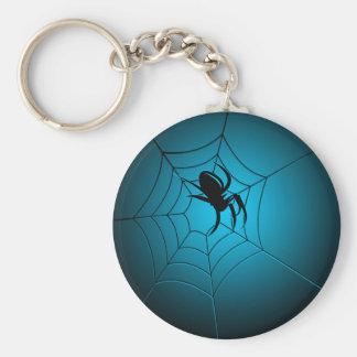 Araña negra de Halloween en el Web Llavero Redondo Tipo Pin