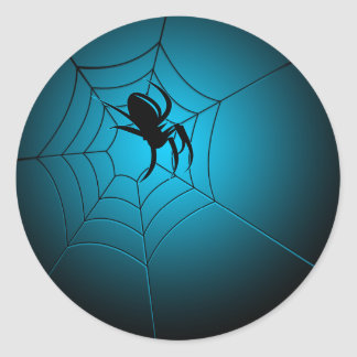 Araña negra de Halloween en el Web Etiqueta