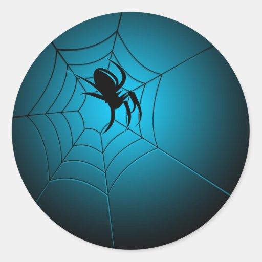 Araña negra de Halloween en el Web Pegatina Redonda