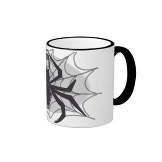 Araña negra en tela taza de dos colores