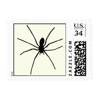 Araña negra timbre postal