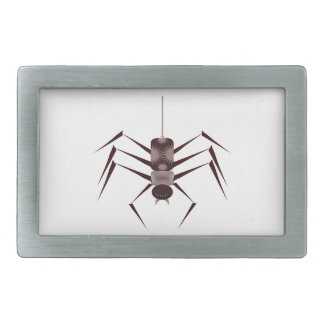 Araña negra y púrpura estilizada que cuelga por hebilla cinturón rectangular