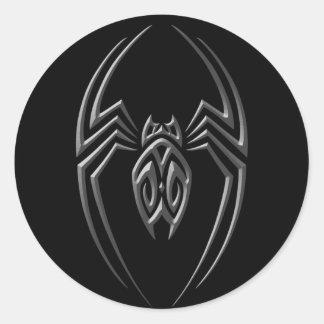 Araña oscura del hierro pegatinas redondas