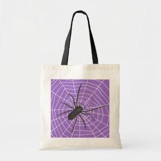 Araña púrpura/negra Halloween Bolsa Tela Barata