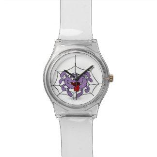 Araña púrpura tonta del dibujo animado relojes