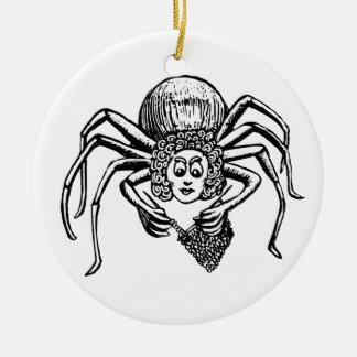 Araña que hace punto ornamento para arbol de navidad
