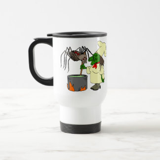 Araña que mira al cocinero de la bruja tazas de café