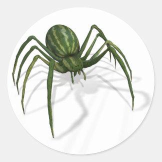 Araña rara de la sandía pegatina redonda