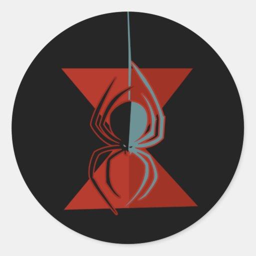 Araña roja del reloj de arena pegatina redonda