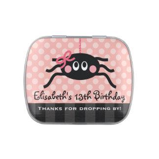 Araña rosada con favor de fiesta del arco frascos de caramelos
