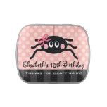 Araña rosada con favor de fiesta del arco frascos de dulces
