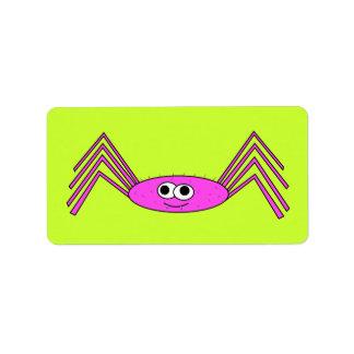 Araña rosada en etiqueta etiquetas de dirección