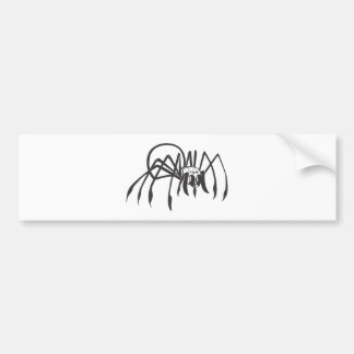 Araña seria de la viuda negra en blanco y negro etiqueta de parachoque