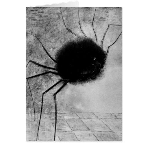 Araña sonriente de Odilon Redon, vintage Halloween Felicitación