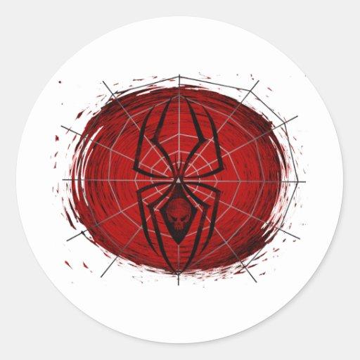 Araña tribal pegatina redonda