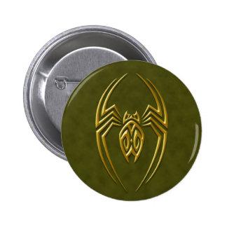 Araña verde de oro del hierro pin redondo de 2 pulgadas