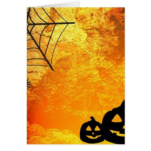 Araña y calabazas de Halloween Tarjetas