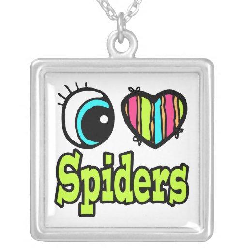 Arañas brillantes del amor del corazón I del ojo Colgante Cuadrado