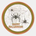 Arañas de Halloween Etiqueta Redonda