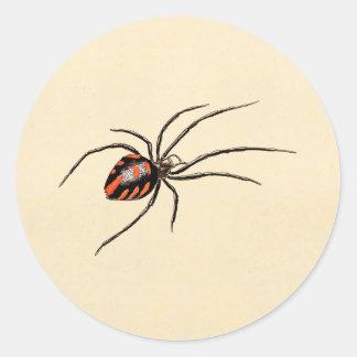 Arañas de la plantilla de la araña roja del negro pegatina redonda