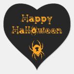 Arañas del feliz Halloween Pegatina De Corazón
