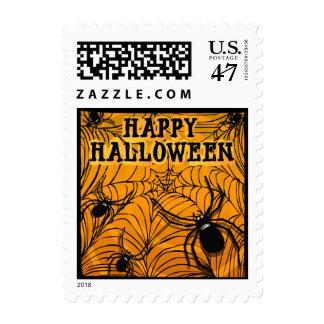 Arañas del feliz Halloween y franqueo del Web de Sellos
