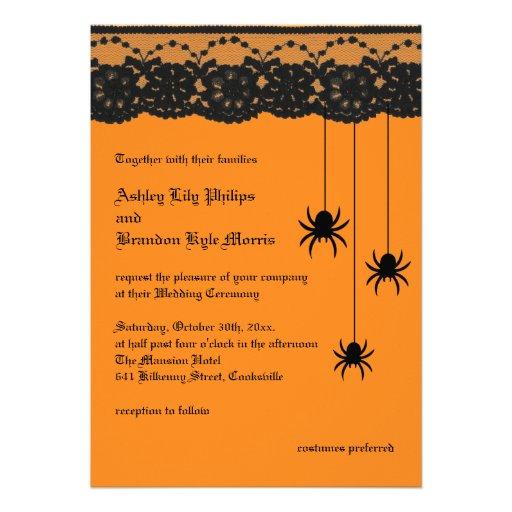 Arañas e invitación anaranjadas del boda del cordó