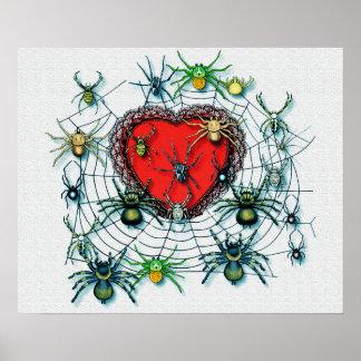 Arañas en mi impresión de la lona del corazón póster