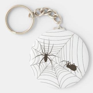 Arañas en una tela llavero redondo tipo pin