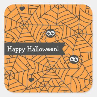 Arañas lindas, Web de araña, Halloween Pegatina Cuadrada