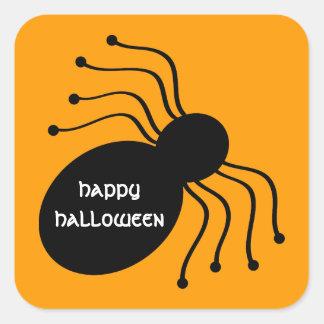 Arañas negras de Halloween en los pegatinas Pegatina Cuadrada