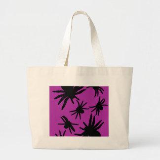 Arañas púrpuras/negras bolsa tela grande